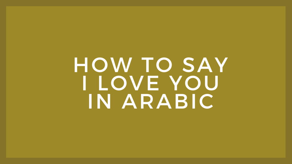 How to say I love you in Arabic language   Arabic word for I love you