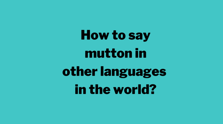 How to say mutton in other languages in the world?