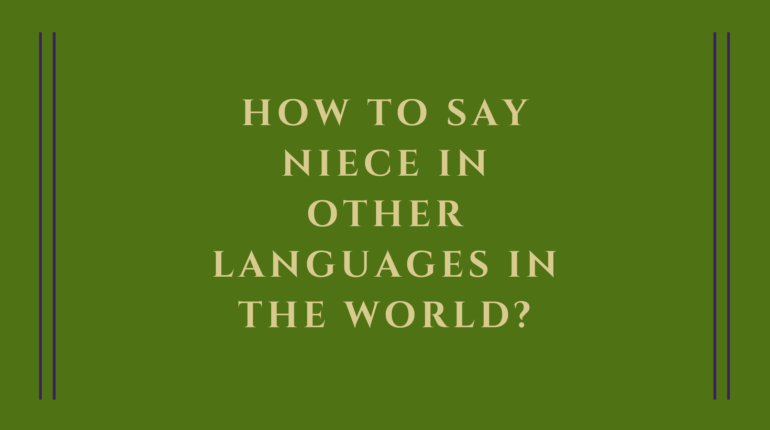 How to say niece in other languages in the world?