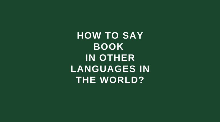 How to say book in other languages in the world?