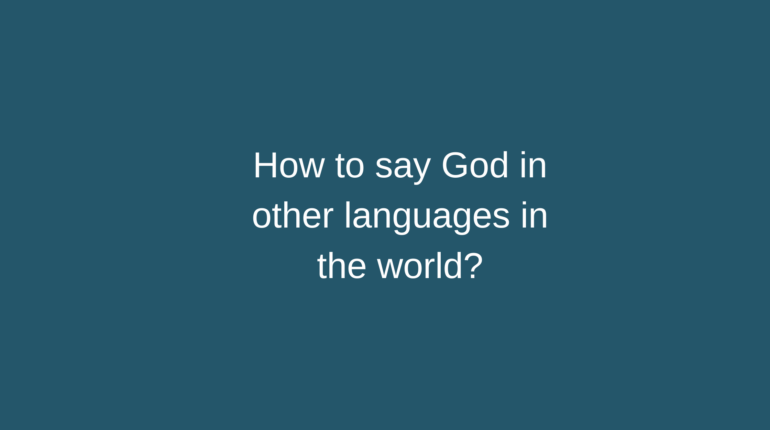 How to say God in other languages in the world?