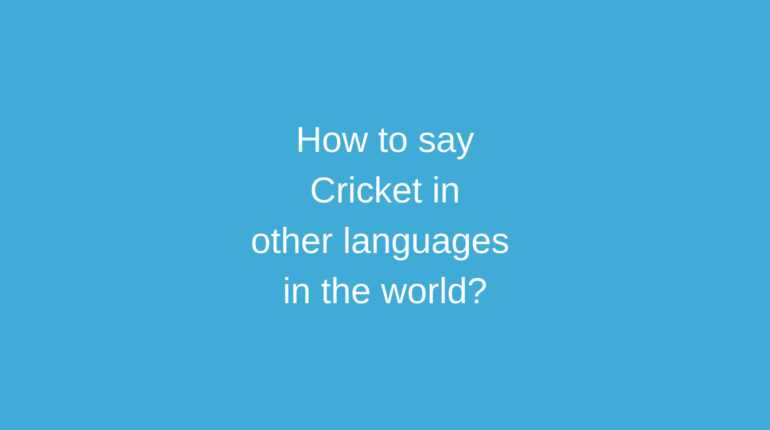 How to say Cricket in other languages in the world?