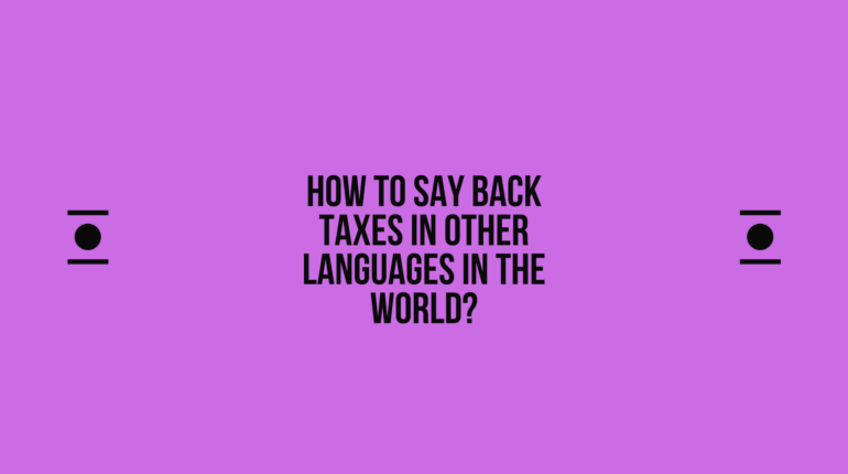 How to say Back taxes in other languages in the world?