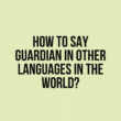 How to say Guardian in other languages in the world?