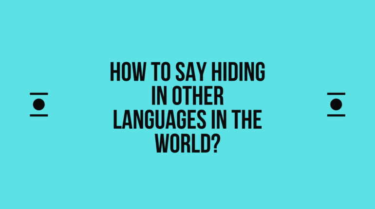 How to say Hiding in other languages in the world?
