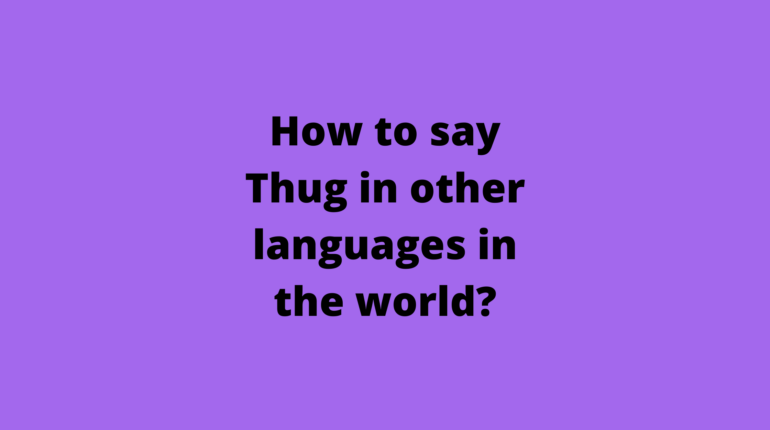 How to say Thug in other languages in the world?